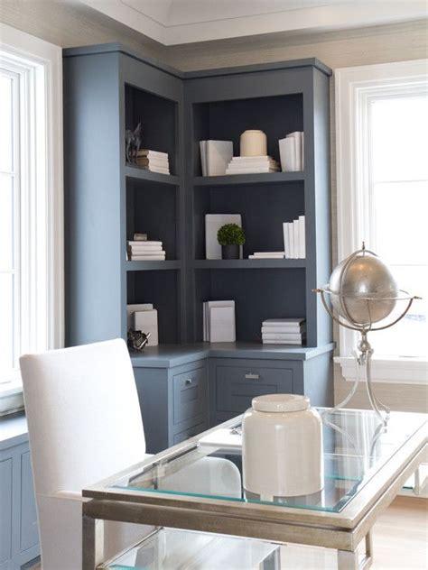 modern built  desk  cabinets built ins gray