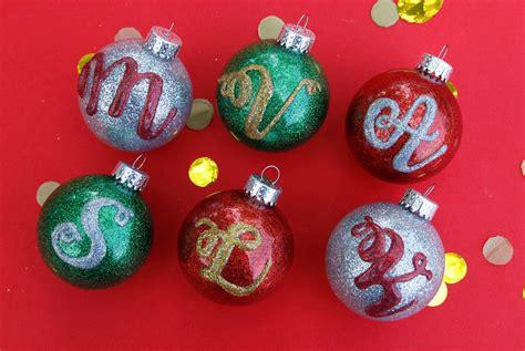 glitter monogram ornaments ilovetocreate