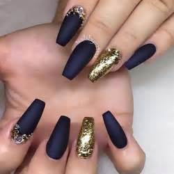 Blue and gold nails navy prom g