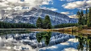 Reflection, Of, Alberta, Banff, National, Park, Canada, Mount