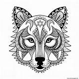 Coloring Wolf Pages Adults sketch template