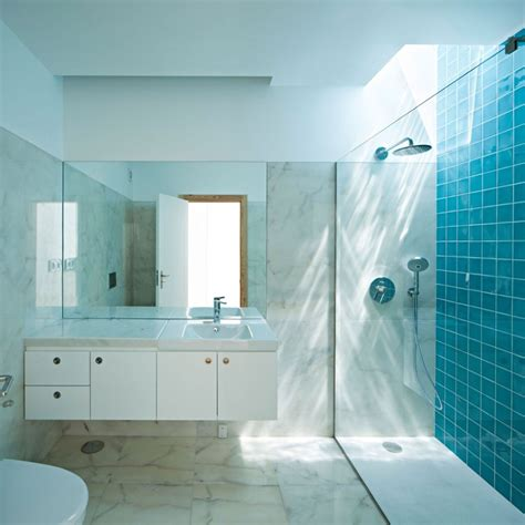 interior looking modern blue bathroom decoration
