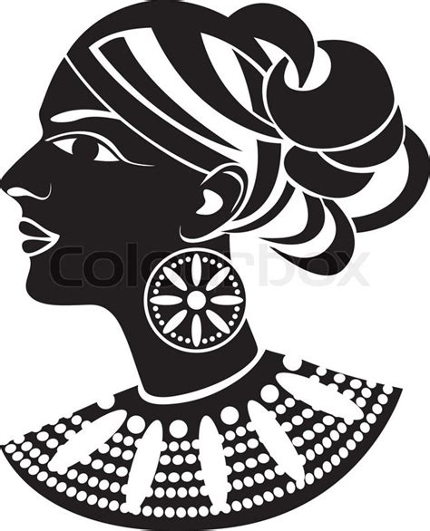Tribal Hair Design Templates by Female Profile In African Style Stencil Stock Vector
