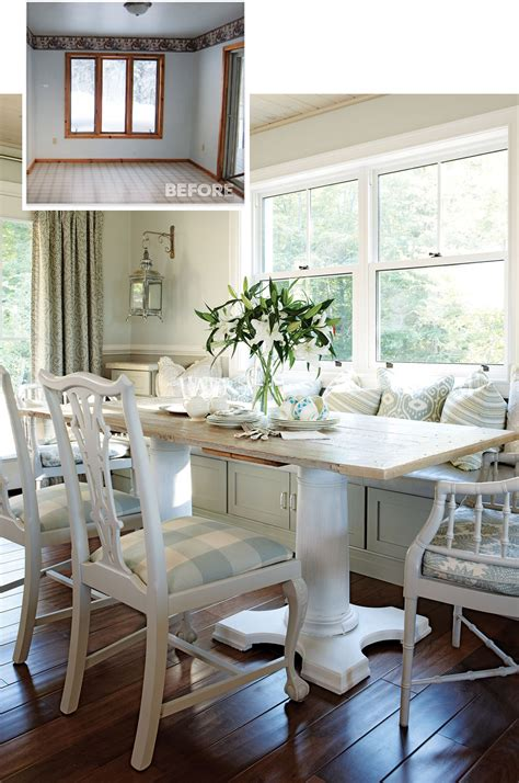 turn kitchen cabinets into a custom banquette in your eat