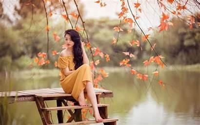 Asian Pretty Wallpapers Nature Sitting Woman Desktop