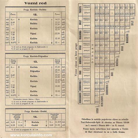 Ferry Boat Orebic Korcula by Korcula Ferry Schedule From 1930s By Dubrovacka