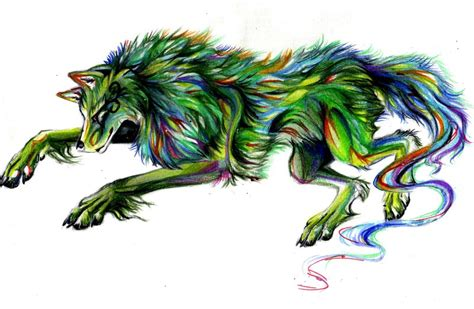 Anime Rainbow Wolf Wallpaper by Green Rainbow Wolf By Lucky978 On Deviantart