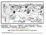 Desert Sonoran Coloring Tortoise Snake Coral Printable Scene Deserts Dessert Template sketch template