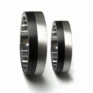 Set of two titanium and carbon fiber wedding bands unique for Carbon fibre wedding ring