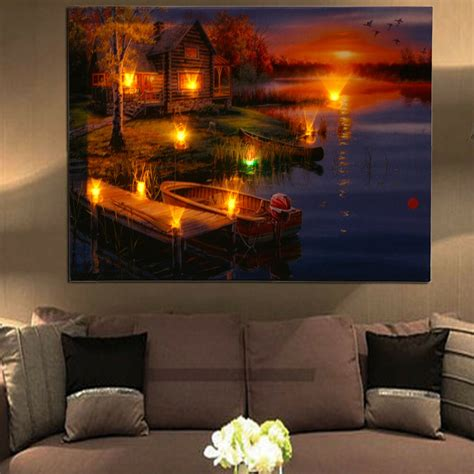 led lighted lake cabin sunset boat canvas wall art light