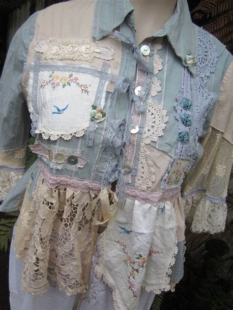 upcycled shabby chic vintage kitty shabby chic lace duck egg blue cream ecru doilies upcycled shirt ooak