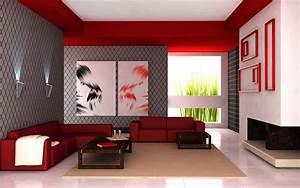 Simple Living Room Red Schemes Design Interior