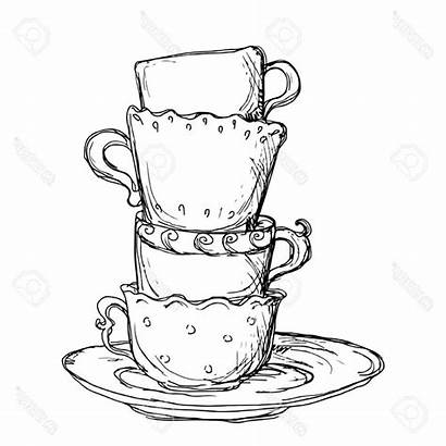 Drawing Teacup Tea Cup Cups Crockery Drawn