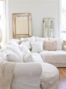 Shabby Chic Living Room with White Couches