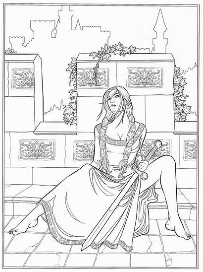 Coloring Pages Gothic Fairy Adult Adults Fantasy