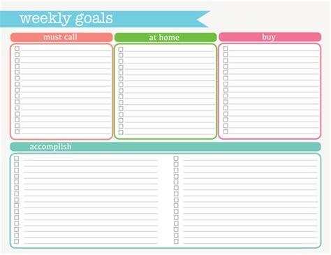 weekly goals weekly goals printable pdf instant