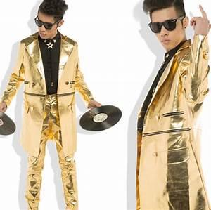 Fashion men clothing Dj male singer dancer performance wear star long style costume gold ...