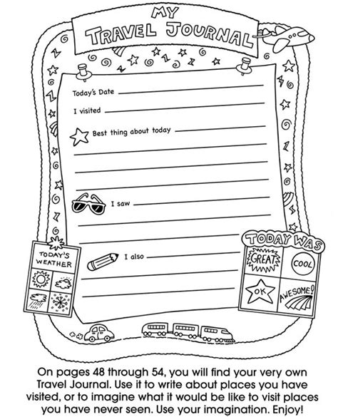 travel template for kids free printable travel journal pages templates activities