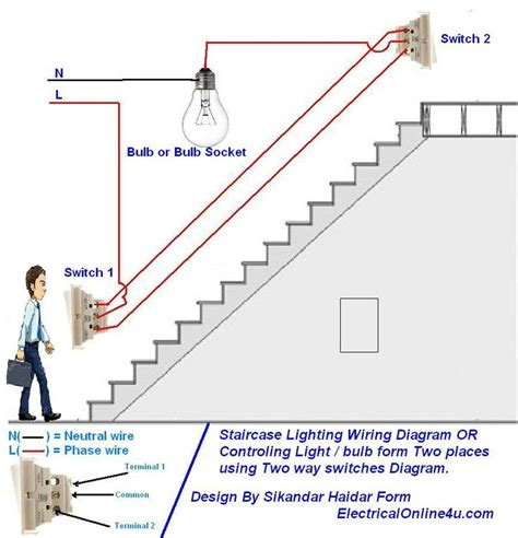 Two Way Light Switch Diagram Staircase Lighting Wiring