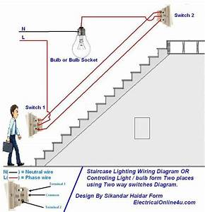 Two Way Light Switch Diagram Or Staircase Lighting Wiring Diagram  In 2019