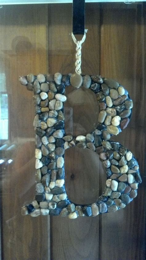 wooden letter  craft store  river rocks  dollar store   hemp  hang