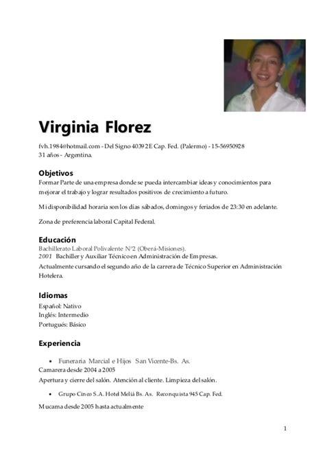 Curriculum Vitae Basico Word Argentina Example Good Resume Template