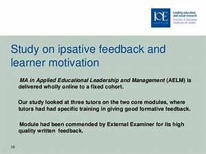 RIDE 2010 presentation - Ipsative assessment and motivation of distan… External Quality Assessment