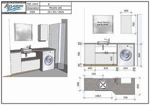 Dimension Lavabo Salle De Bain : un meuble au design moderne avec lave linge et panier ~ Premium-room.com Idées de Décoration