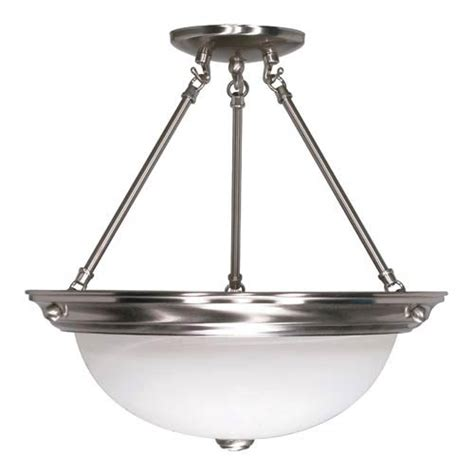brushed nickel semi flush mount ceiling light nuvo