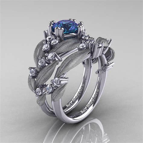 nature classic 14k white gold 1 0 ct alexandrite diamond leaf and vine engagement ring wedding