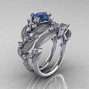 nature classic 14k white gold 10 ct alexandrite diamond With leaf and vine wedding ring