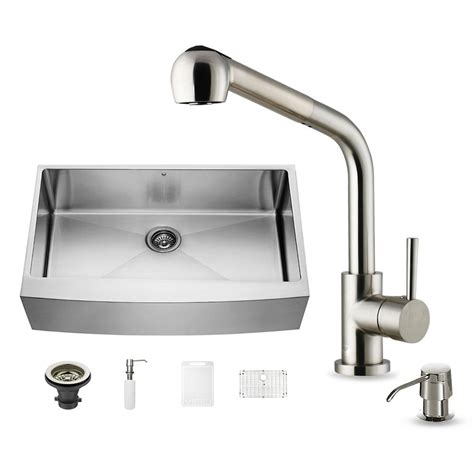 home depot stainless farm sink vigo all in one farmhouse apron front stainless steel 36
