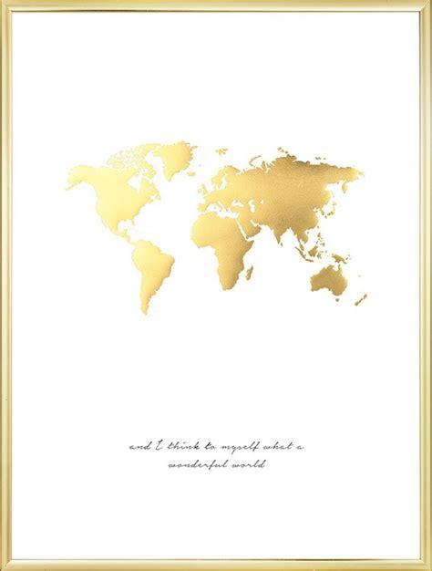 Poster mit goldener Weltkarte  Poster mit Golddruck