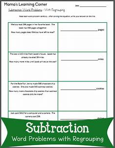 Subtraction Word Problems with Regrouping  Mamas Learning Corner