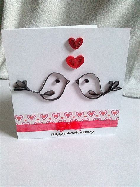 quilled birds  hearts anniversary card  kaiscards