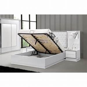 Lit Coffre 160x200 : lit coffre 160 200 blanc topiwall ~ Teatrodelosmanantiales.com Idées de Décoration