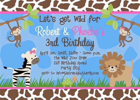 photo birthday invitations jungle st birthday party