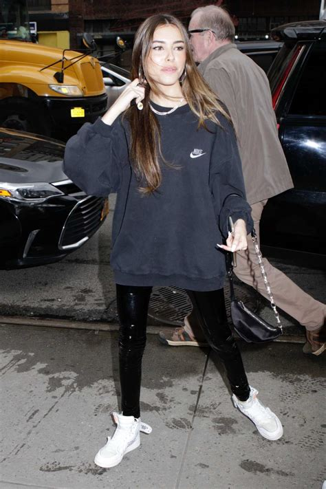 madison beer dons a nike sweatshirt, pvc pants with off ...