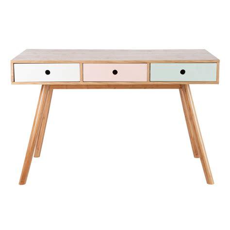 bureau tiroir bureau 3 tiroirs vintage bois pastel 61992 achat