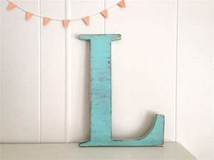 Decoration wood letters french cottage wall decor letter l