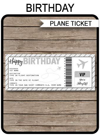printable birthday boarding pass gift ticket plane