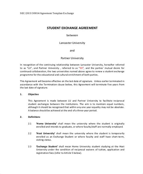 Student Contract Template by 11 Student Agreement Contract Sles Sle Templates