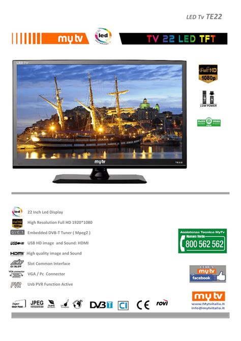 "MyTV TE22 22"" Full HD Black LED TV Manualzz"