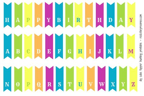 Cake Happy Birthday Printable Banner Letters Free