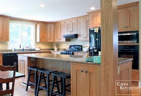 natural cherry transitional kitchen  island