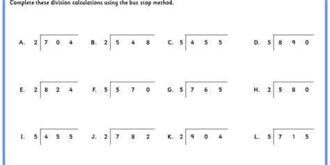 division worksheets ks2 bus stop method division stop method worksheets search school stuff worksheets and