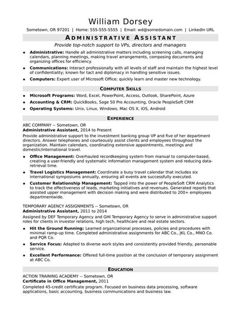 Administrative Assistant Resume by This Sle Resume For A Midlevel Administrative Assistant