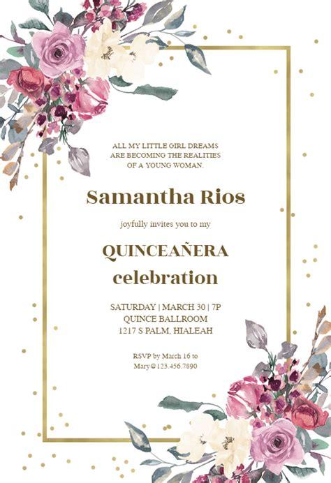 flowers  golden frame invitacion de quinceanera
