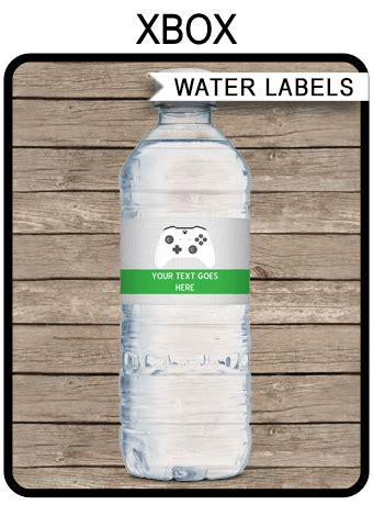 xbox party water bottle labels video game theme party