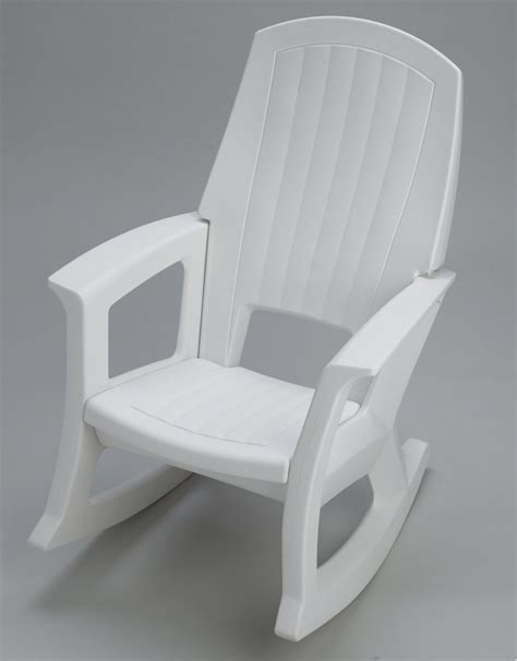 semco plastics white resin outdoor patio rocking chair